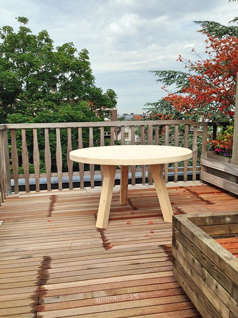 Sasha steigerhout ronde eettafel tuintafel koster meubels for Steigerhout tuintafel